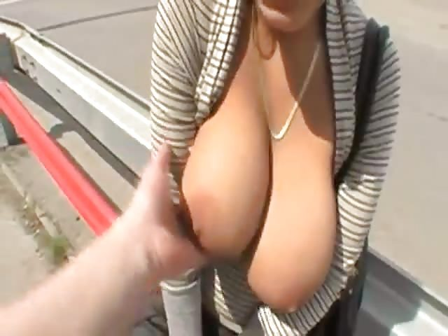 big tits amateur fucking in public
